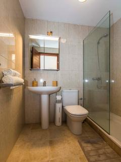 Bathroom with walk in shower. No bath available.