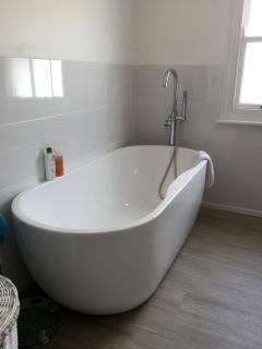 Deluxe bathroom with free standing bath