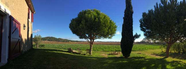 Le jardin côté vignes au matin