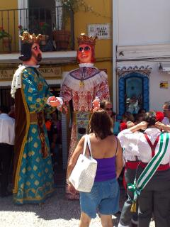 The parade of Los Gigantes in Marbella Old Town