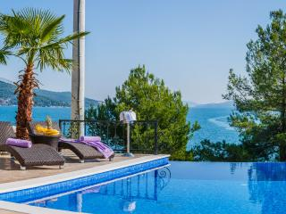 Infinity swimming pool with massage in front of villa