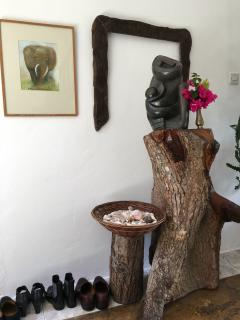 Mother and son sculpture welcomes our guests