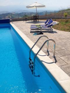 Lots of space to relax by the heated pool, whilst enjoying the views and peaceful countryside.