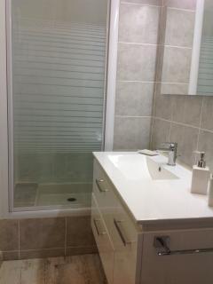 Salle de bain neuve et propre avec toilettes