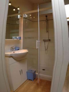 Grande douche et lavabo indépendants