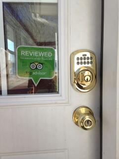 Front door with electronic key less lock