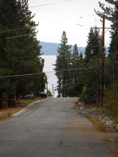 View down our street to the lake