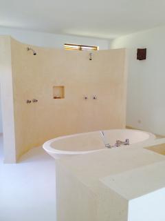 Bathroom with bathtub, ocean view.
