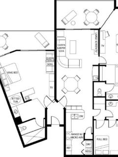 Lock-off Floor Plan.  Unit 1 br side only. Sleeps 4, partial kit, jacuzzi, screened balcony.