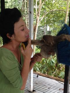 Guapo & me. We found him on the ground, enjoyed few special moments with him. Now at the Sloth Cente