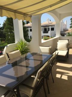 The sunny terrace on apartment 36C at Alto Golf and Country Club