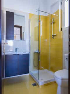 Glass booth bathroom