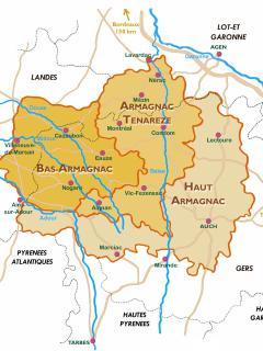 La carte des Armagnacs; au coeur du vignoble, en Ténarèze