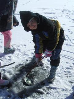Ice fishing or skating
