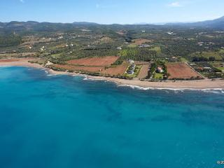 The Kalo Nero Beach in front of the Apartment Irida, close to pristine sandy beach of Kyparissia.