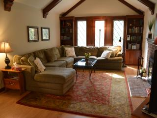 Very spacious Living room with plenty of seating, a fireplace, TV and built in book cases