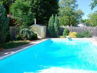 Large heated pool with brand new liner. Mature and private garden.