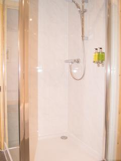 The shower with soap and shampoo dispensers