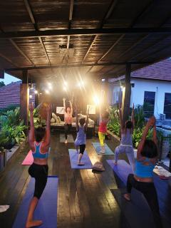 Take a yoga class in our rooftop studio.