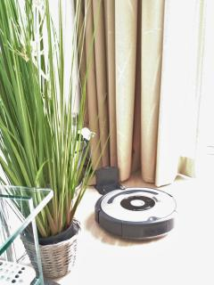 Our Wall-E cleans on demand. Linked to home automation systems