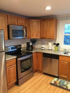 Granite countertop and stainless appliances