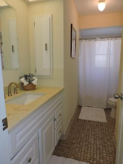 Second bathroom with spacious linen closet