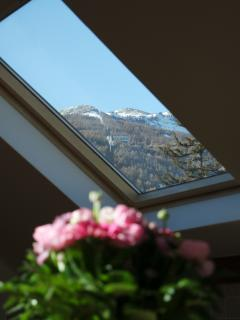 Views of the pistes and ski lift from kitchen and living in Apartment Maia Briancon.