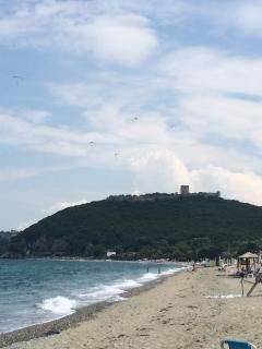 Our local beach (100 meters walk from the house) with view of the Platamon castle
