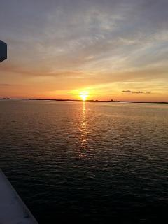 Sunset from Sea & Suds deck.