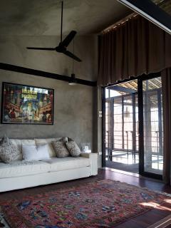 Bed room - view towards sleeper sofa and balcony