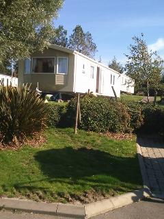 Our new caravan being sited on its pitch