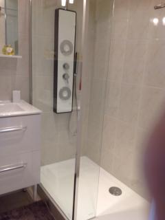 salle de bain avec douche massante