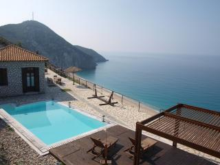 Beachfront  luxury villa  above the best Greek beach, Agios Nikitas