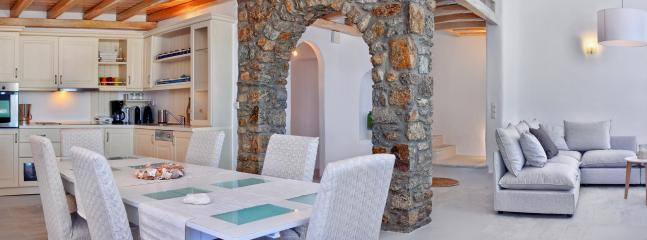 The spacious Dining area for classic Mykonian al fresco dining experiences
