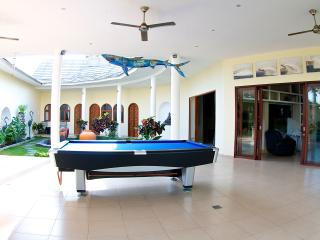 pool table and pool shark above