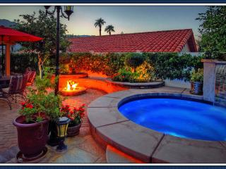 Festive courtyard with fire pit