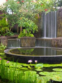 Puri Bawana - Lily pond and waterfall