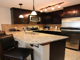 This chic condo features a sleek kitchen with high-end appliances and a breakfast bar.