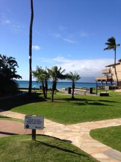 view from pool deck looking toward ocean and Molokai