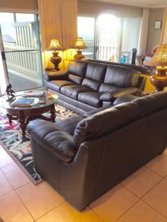 New living room leather sofas, sorry no sleeper sofa.