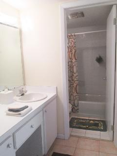 The vanity with twin hand-basins is very useful