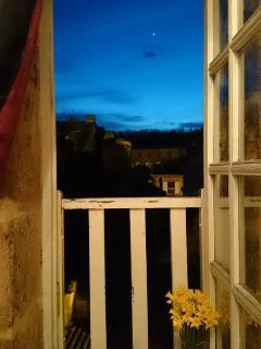 Romantic evening views through the window