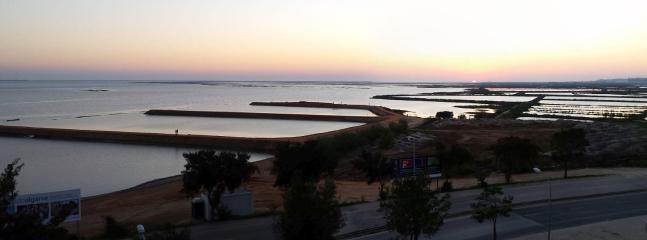 View from balcony at sunset