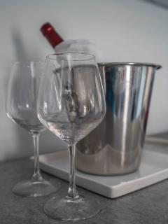 Wine glasses and ice bucket
