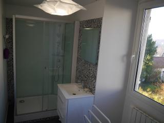 La salle de bains équipée d'une grande douche, avec fenêtre donnant sur les toîts cuivrés du village