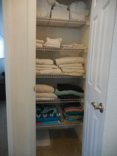Linen closet with extra towels, pol towels