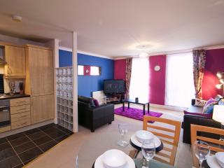Bright lounge with 50' wide screen TV with Virgin Media TV