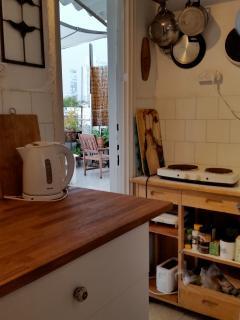 Cooking area with door open to terrace
