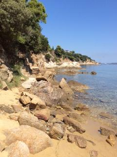 The rocky corner of our private beach, great for an afternoon of fishing!