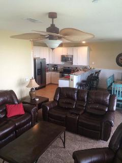 Open kitchen, dining, living room